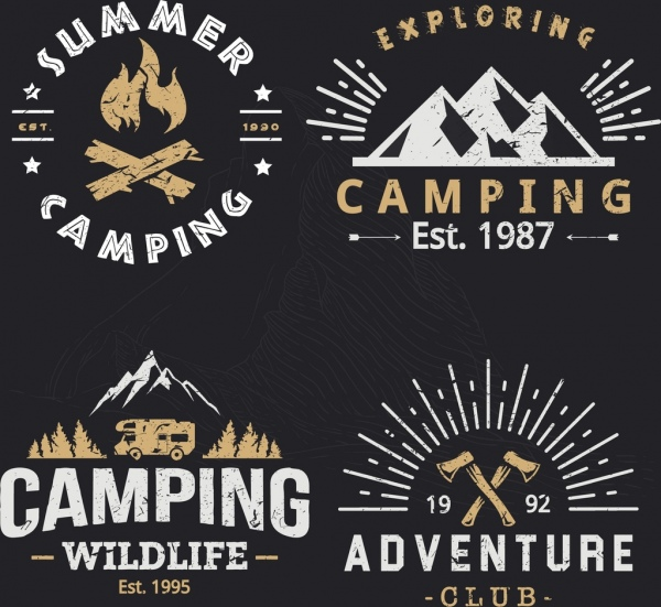 outdoor camping logotypes retro design mountain fire icons