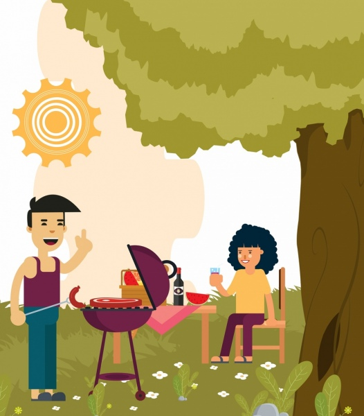 outdoor picnic drawing happy couple barbecue colored cartoon