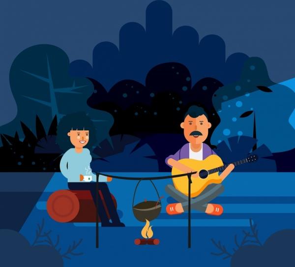 outdoor picnic drawing man woman campfire icons