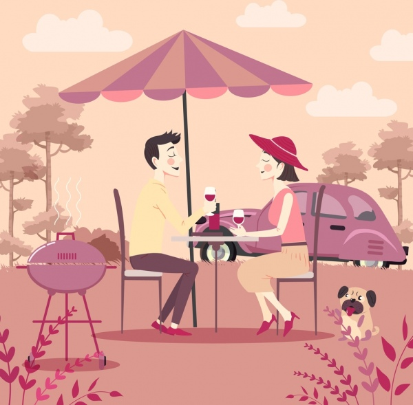 outdoor picnic drawing romantic couple icons colored cartoon