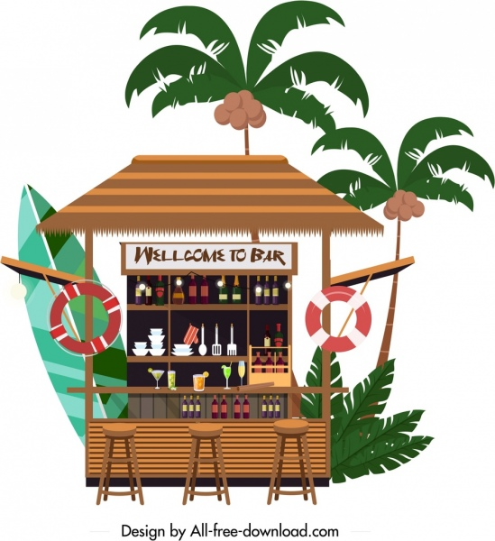 outdoor summer bar template classical flat design
