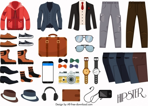Outfits Design Elements Male Fashion Accessories Icons Free Vector In Adobe Illustrator Ai Ai Format Encapsulated Postscript Eps Eps Format Format For Free Download 3 25mb