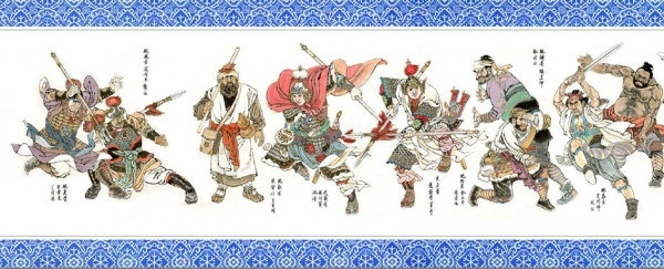 outlaws of the marsh family of zhao mingjun water margin characters scroll highdefinition picture