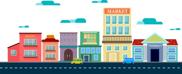 outlet mall scheme sketch colored buildings and road