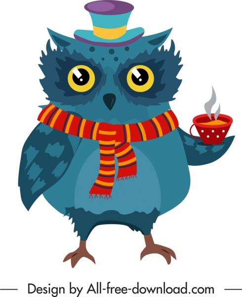 owl animal icon stylized cartoon sketch