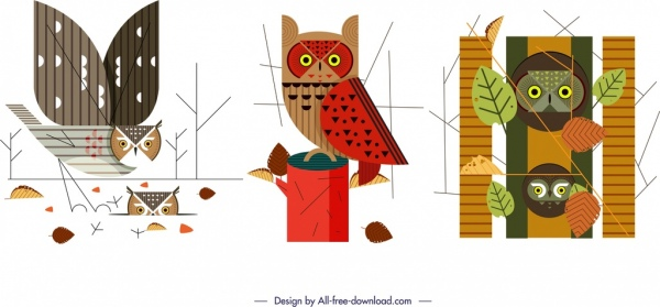 owl animals icons sets colorful classical sketch