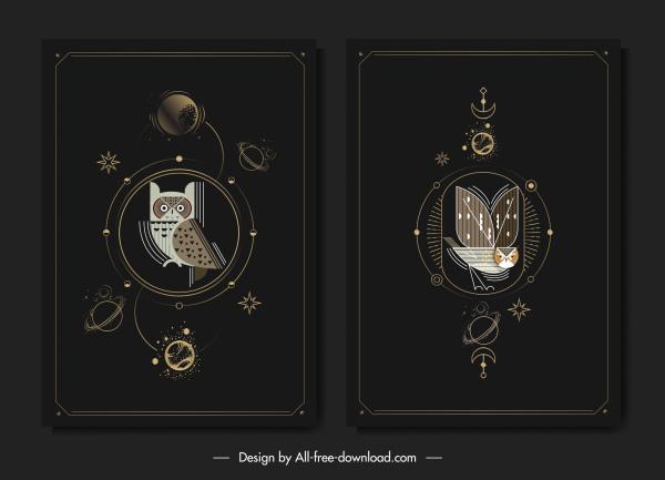 owl backgrounds elegant dark black flat design