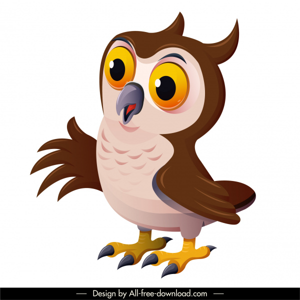 owl bird icon colorful cartoon character sketch