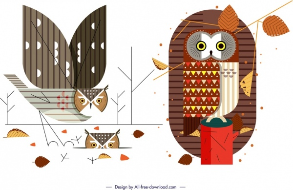 owl wild animal icons colorful flat sketch