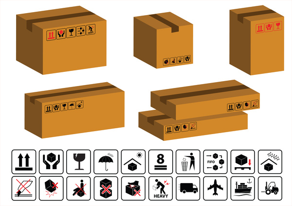 Packaging symbols or cardboard icons with boxes illustration