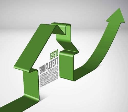 real estate market background house arrow 3d shape