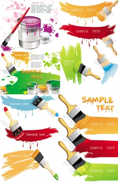 paint brush with color the vector