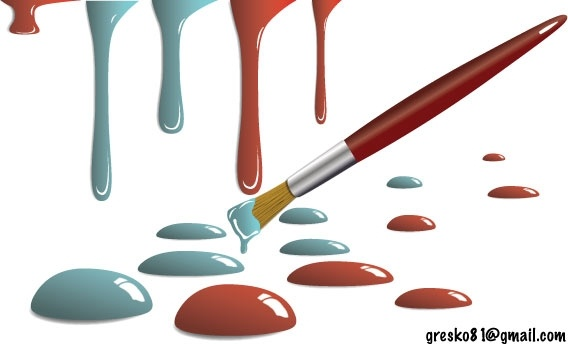 paint drops and brush vector illustration