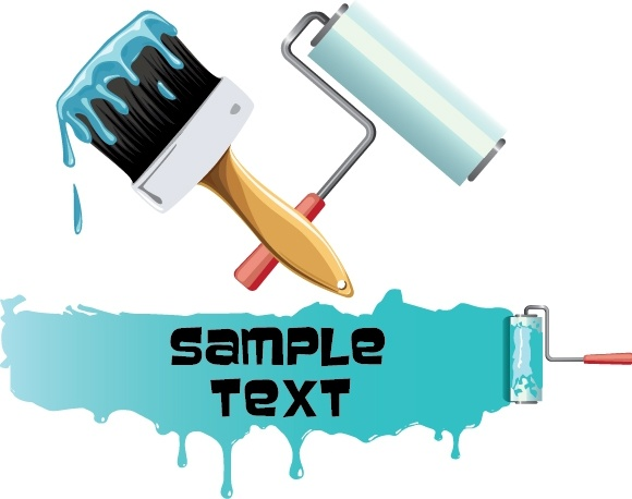 painting work background roller brush grunge paint icons