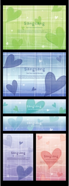love background sets hearts icons classical design