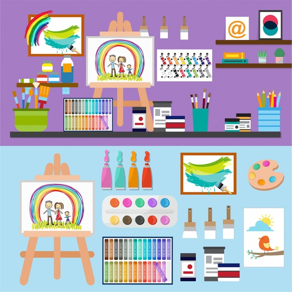 painting art elements illustration with tools symbols