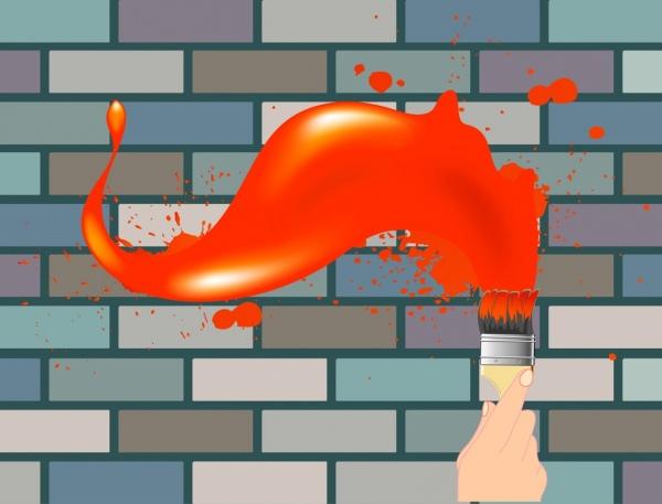 painting background hand brush icon orange grunge decoration