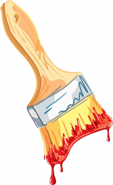 paint brush icon colorful handdrawn 3d dirty decor