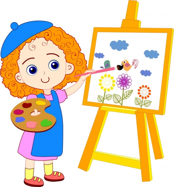 Painting girl drawing colored cartoon cute girl icon Free vector in ...