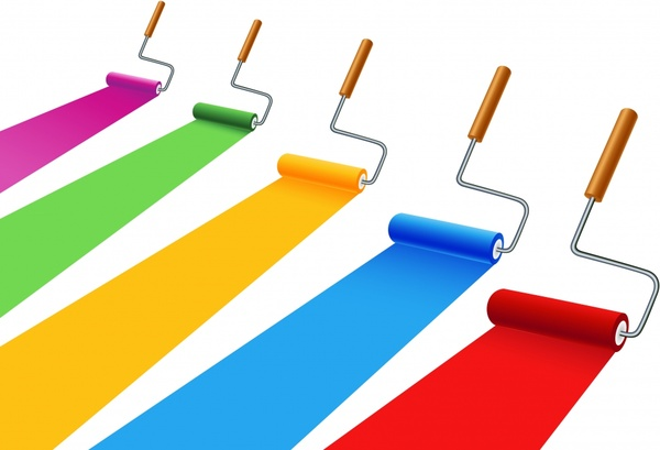 painting work background colorful brushes icons modern 3d
