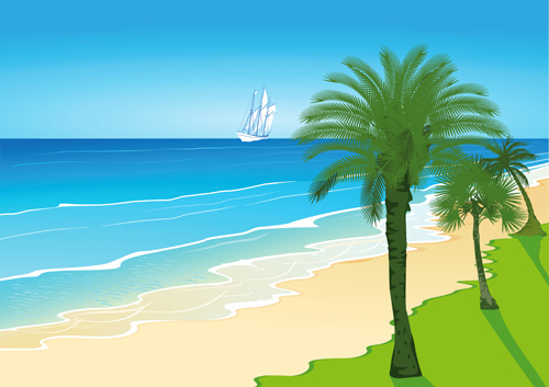 palm with beach background vector