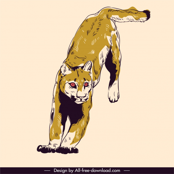 panther animal painting dynamic sketch retro handdrawn