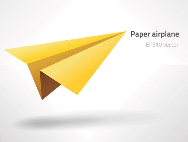 paper airplane icon yellow 3d design