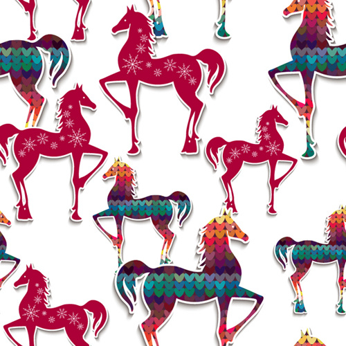 paper floral horse vector seamless pattern
