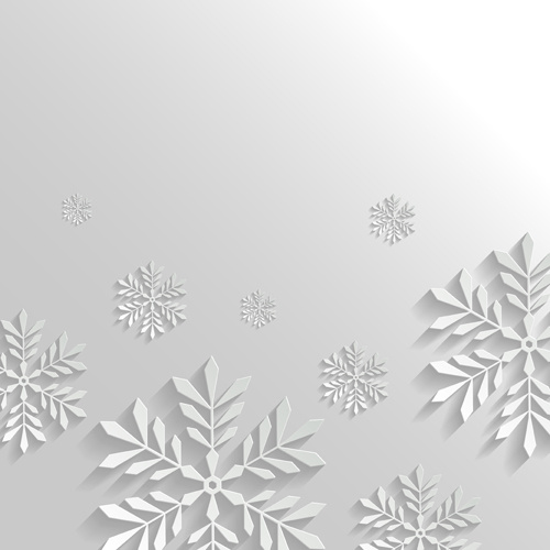 White Christmas Background.Paper Floral White Christmas Backgrounds Vector Free Vector