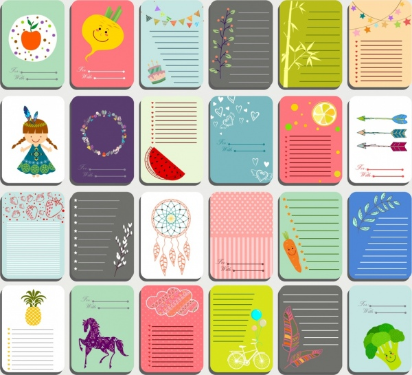 paper notes background templates cute colorful symbols decor