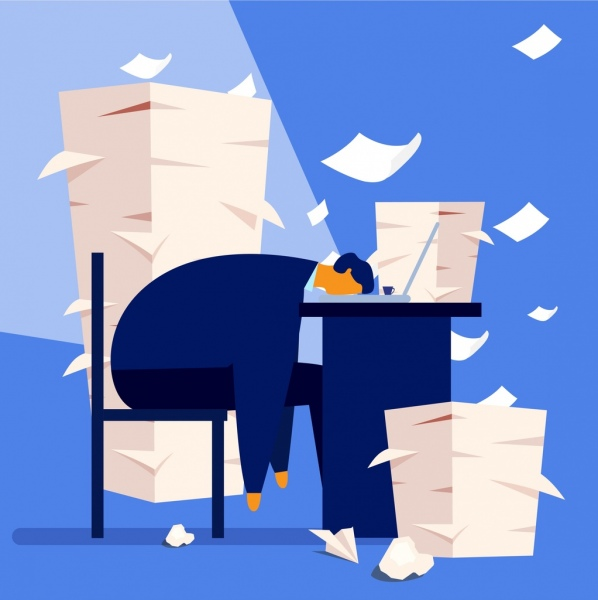 paper work background exhausted man desk icons