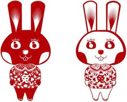 papercut rabbit rabbit vector
