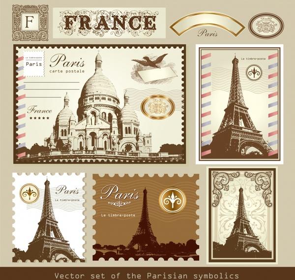 paris stamps templates retro design landscapes sketch