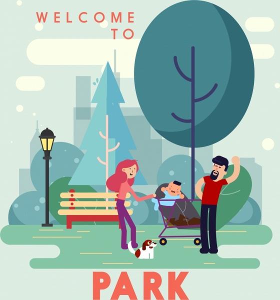 park advertisement joyful family icon cartoon design