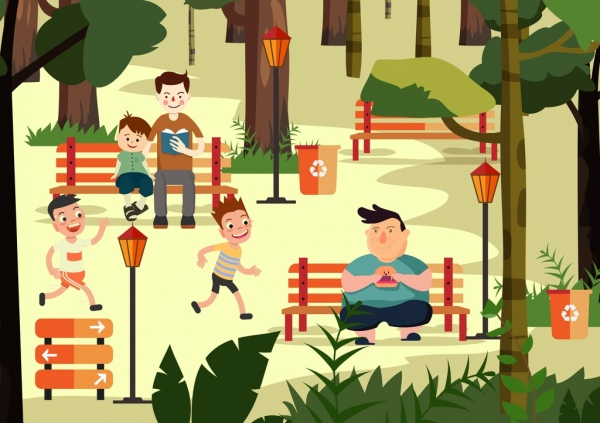 park drawing human activities icon colored cartoon