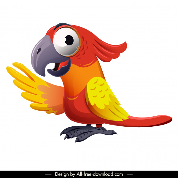 parrot bird icon colorful design funny cartoon character