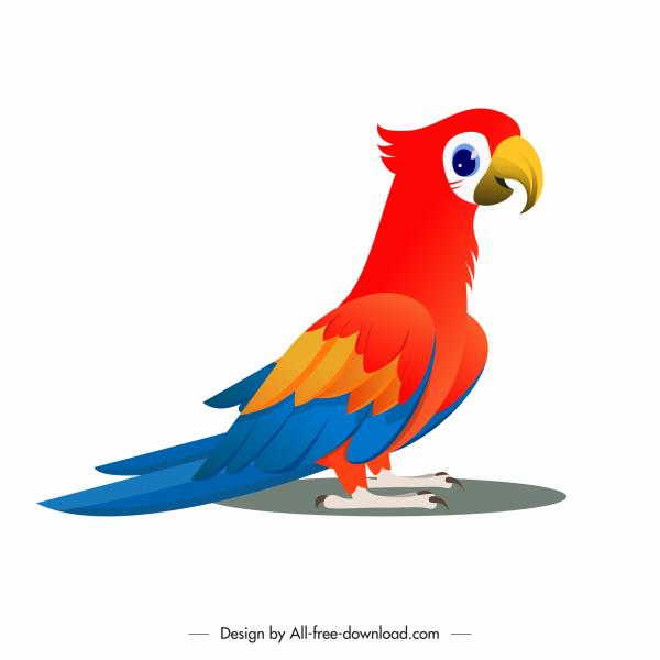 parrot icon colorful cartoon sketch