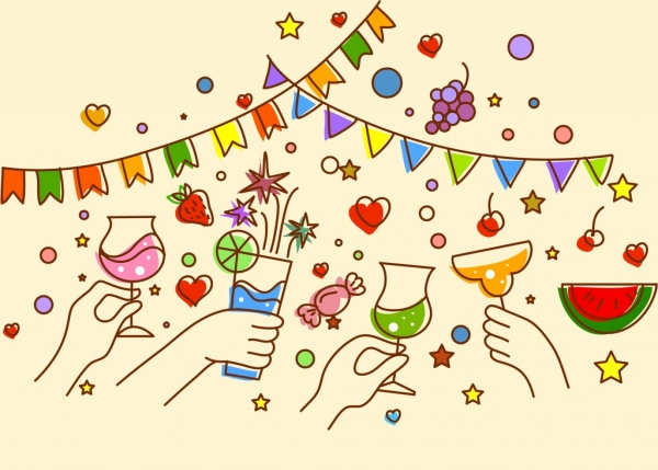 party background cheering hands glasses ribbon handdrawn design