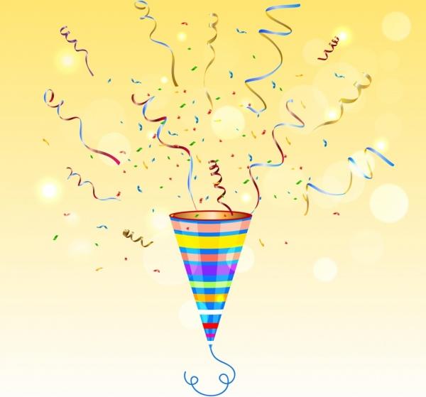 party background colorful confetti icon bokeh shiny decor