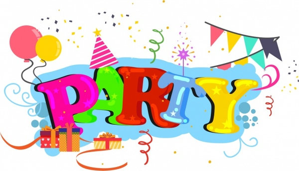 party background colorful words balloons gifts icons decoration free