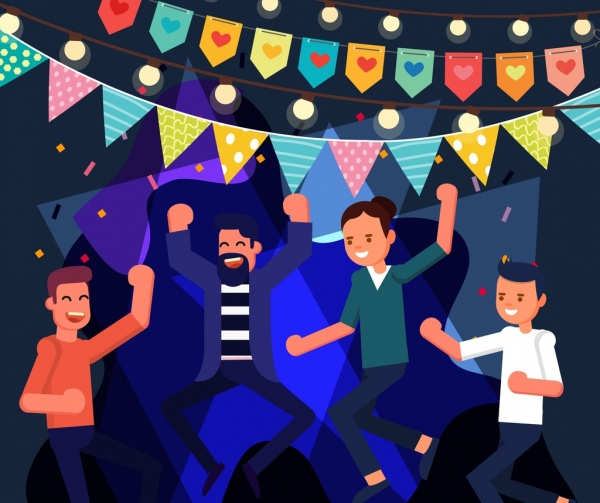 Party Background Joyful People Flag Ribbon Cartoon Design Free Vector In Adobe Illustrator Ai Ai Format Encapsulated Postscript Eps Eps Format Format For Free Download 3 13mb