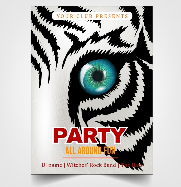 Party Flyer Template Tiger Face Decoration Free Vector In Adobe