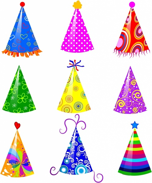 88c9b94a Party hat set Free vector in Adobe Illustrator ai ( .AI ...