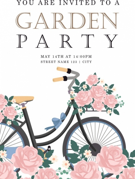 party invitation card template bicycle flowers icons decoration