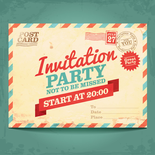 Party Invitation Postcards Vector Free In Adobe Illustrator