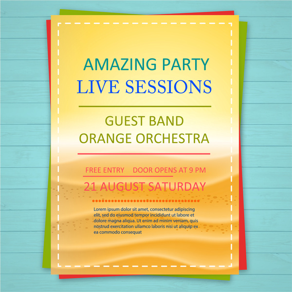 party promotion leaflet design with bright orange background