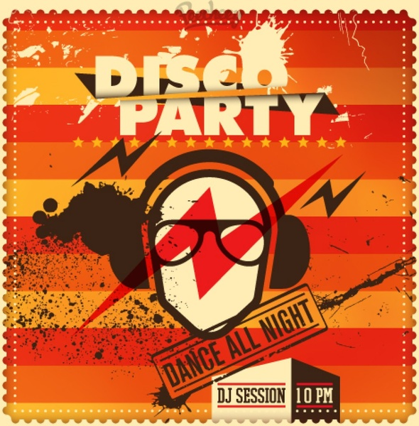 Party retro poster red Free vector in Adobe Illustrator ai