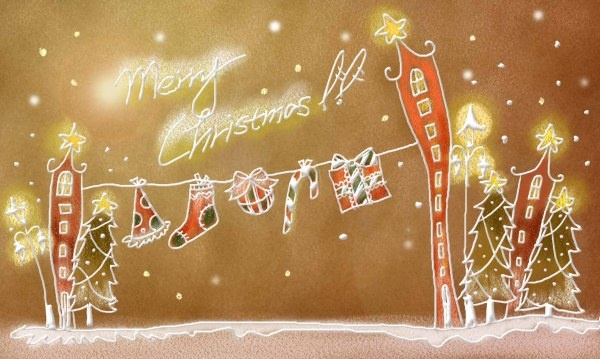 pastels handpainted christmas illustrator psd layered 9
