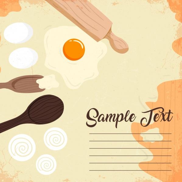 pastry background wooden utensils eggs icons retro design