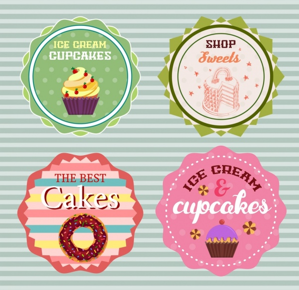 pastry shop logotypes multicolored serrated circles design